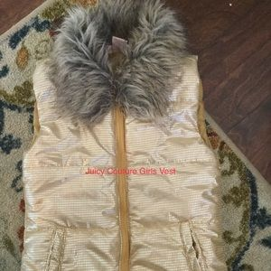 Girls Juicy Couture Gold Puffer Vest B6